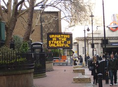 Urinating in the street is unlawful (Swissdave) Tags: street london sign piss urinate embankment urinating streetpee