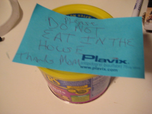 PLEASE DO NOT EAT IN THE HOUSE THANKS MOM