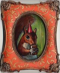 Marie with Ice Cream Sandwich (verpabunny) Tags: original hat painting squirrel acrylic icecreamsandwich kellyvivanco