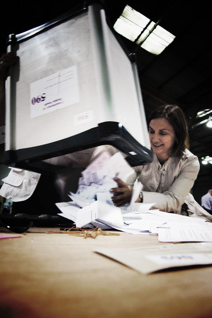 emptying ballot boxes