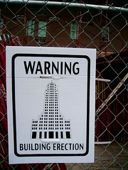 Erecting a Building (Amarand Agasi) Tags: columbus ohio building sign fence funny sean oh erection shortnorth erect erecting galleryhop amarand theamarand
