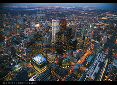 Toronto from the CN Tower (BenW - Photons, git in here!) Tags: city toronto ontario night cntower view omg