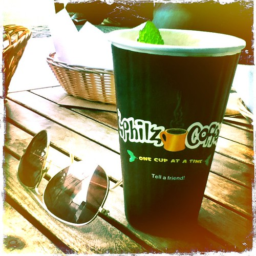 philz coffee hipstamatic pic, with aviator raybans