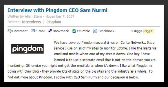 CenterNetworks interview with Sam Nurmi from Pingdom