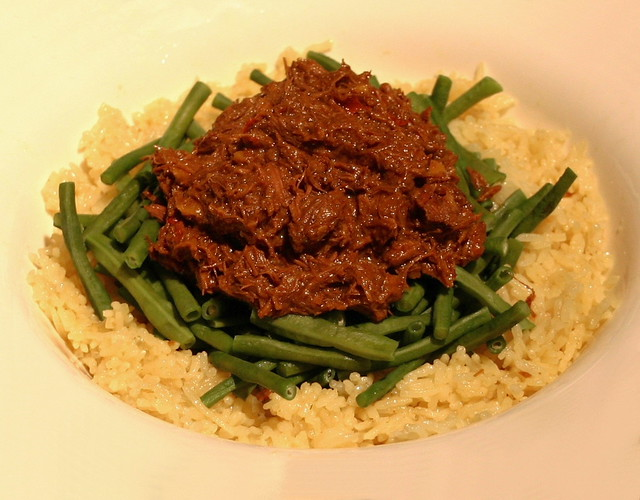 Beef Rendang with Long Green Beans and Nasi Kuning