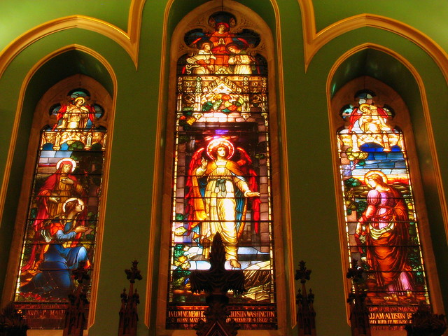 3 stained glass windows at the front