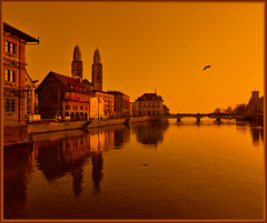 Zrich - left (Katarina 2353) Tags: city panorama orange reflection film water buildings photography schweiz switzerland nikon flickr suisse image swiss zurich zrich zurigo katarinastefanovic katarina2353