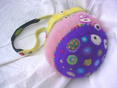 Caroline Purse 7 Underside (daleyplanetart) Tags: pink art wool yellow felted fun colorful artist handmade unique felt purse wearableart accessories fiberart handbag multicolor whimsical carolinesdaley daleyplanet