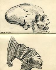 Artfefact Mangbetou ((Nathanael.Archer)) Tags: moleskine face notebook skull sketch profile sketchbook os dessin bones bone draw profil visage encre croquis moleskinerie crâne rotring