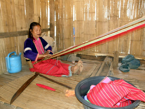 Palong tribe member weaving near Chiang Mai