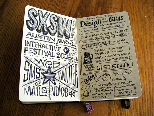SXSWi 2008 Sketchnotes: First Spread