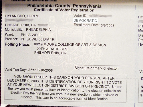 my voter registration came on Thursday