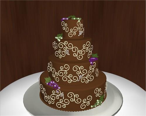 Carone virtual cake - chocolate with ivory decoration