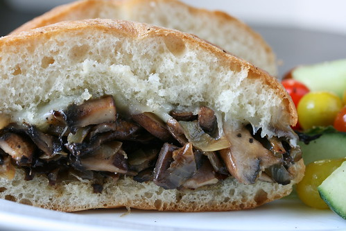 Mushroom, Onion and Cheese Sandwich