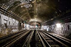 Mtro parisien - Paris (Aur from Paris) Tags: light paris france night train underground subway wagon tag graf mtro tube rail trail tunel dri ruraldecay ratp canoneos5d digitalblending stif aur
