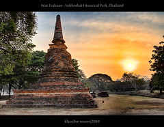 Wat Trakuan - Sukhothai Historical Park, Thailand (Exposure Fusion) (farbspiel) Tags: voyage travel sun photoshop sunrise relax geotagged thailand religious temple photography nikon worship asia southeastasia buddhist religion pray buddhism wideangle lord worldheritagesite mystical nikkor dri tha settings sukhothai monopod chedi workflow postprocessing dynamicrangeincrease 18200mm d90 amazingthailand holidaydestination sukhothaihistoricalpark processinginformation hdrprocessing totallythailand topazadjust exposurefusion topazdenoise klausherrmann wattrakuan geo:lat=1702061120 geo:lon=9970367140 nikonafsdxnikkor18200mm13556gedvr hdrpostprocessing