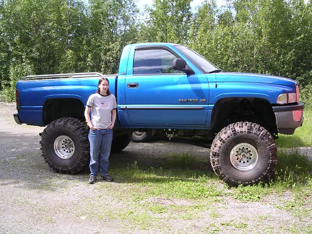 blue summer monster alaska truck giant drive big lift suspension pickup super 1999 tires dodge ram 1500 lifted bogger swamper