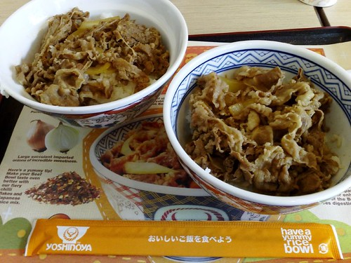 From left: large beef bowl and regular beef bowl