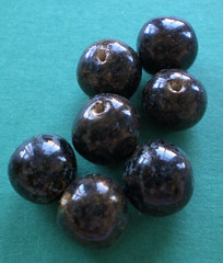 Deep Brown Handmade Ceramic Beads With Blue Flecks