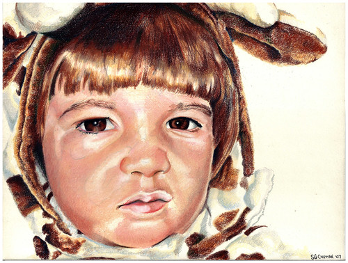 Colored pencil portrait of my daughter in her Halloween Costume entitled Clara the Angry Cow