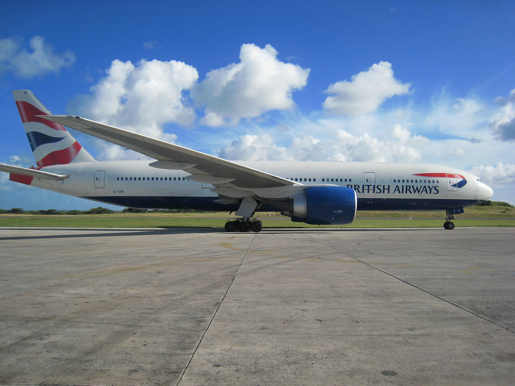 British Airways Boeing 777 in Antigua