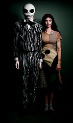 Jack and Sally from the Nightmare Before Christmas Halloween Costumes Inspired by Tim Burton (Jesse Draper) Tags: halloween jack nightmarebeforechristmas sally nightmare christmas before timburton jessedraper skellington homemade tim burton skeleton costume movie stripes swirl swirls dead sew dress up suit skull cranium photoshot hallows henry selick jesse draper makeup idea bat stiches thread couture october fall autumn socks spots bowtie tie scar zero     ribcage ribs bones claws patches art teeth death undead zombie creepy scary gross creative rotten jacket wings nmbc untooning toon