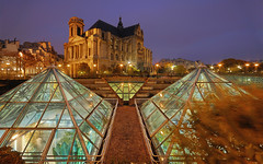The Pyramids of the the Forum des Halles (David Giral | davidgiralphoto.com) Tags: paris france church saint les architecture night garden landscape lights evening nikon cloudy jardin sigma d200 1020mm paysage halles chatelet pyramides steustache eustache sigma1020