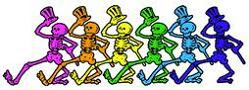 Grateful Dead - colored dancing top hat skeletons