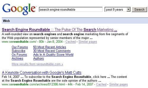 First Crawl Date of SERoundtable.com in Google