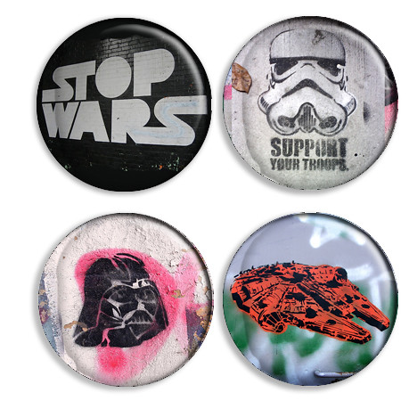 Stencil Graffiti Button Set - Star Wars Fighters