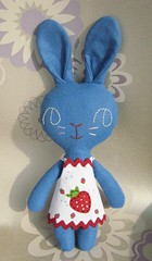 Blue Bunny (Joey's Dream Garden) Tags: uk blue cute rabbit bunny toy strawberry sewing craft felt plush plushie etsy applique stuffie joeysdreamgarden
