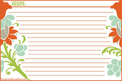 Retro Fleur 4x6 Recipe Card Template