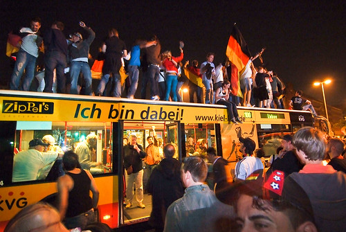 Fans on bus