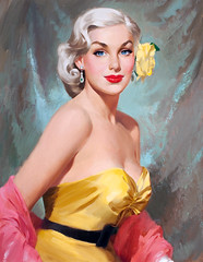 Glamour Blonde with Yellow Flower, uncredited artist (Tom Simpson) Tags: glamourblondewithyellowflower boobs woman blonde girl dress painting illustration art vintage
