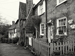 Village cottages (V Photography and Art) Tags: monochrome mono village kent cottages villagestreet downhill houses doors windows buidings oldcottages property periodproperty brick