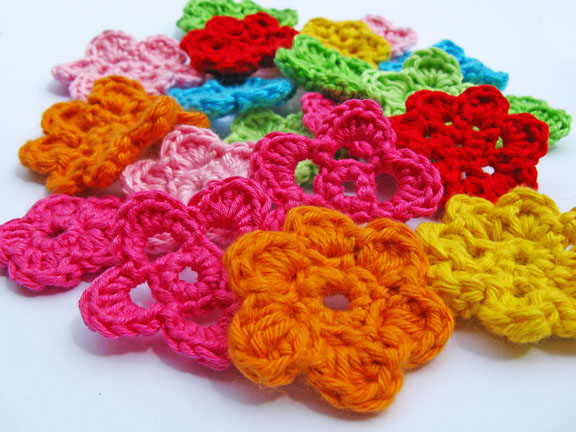 crochet flowers lot