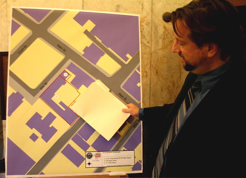 David Panagore and a 31 Elm Street map. Photo by H Brandon