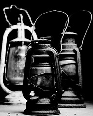 High Contrast Treatment - Lanterns (Julian Lynch Photo) Tags: life camera november stilllife 3 black men lamp studio table handle still rust hand background flash off gas wise oil handheld lantern held diffuser strobe kerosene diffuse strobist