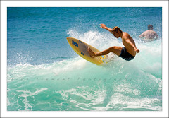 Summer Surfing (~* Rae Rae *~) Tags: ocean summer copyright cliff beach sunshine newcastle surfer wave australia surfing surfboard egan barbeach raethrenoworthphotography blueelementphotography eganboards oldschoolsurfboard raethrenoworth blueelement
