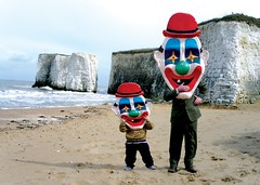 Clowns. (DJ Bass) Tags: portrait beach smile kent scary published tide dream hats cliffs creepy wrong nightmare dazedandconfused clowns magazineshoot twoclowns
