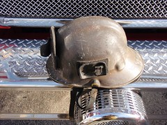 Fire helmet charred by fire in Sun Valley industrial firm. © Photo by Scott LaRue. Click to view more...