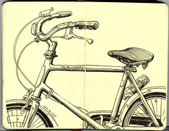 bicycle ride (susanrudat) Tags: travel bw art moleskine bicycle sketch ride wheels sketching sketches