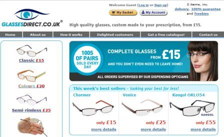 GlassesDirect.co.uk homepage