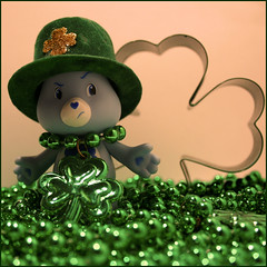 17/365 in which grumpy embraces the irish spirit (mlsjs) Tags: bear blue irish green toy carebear carebears grumpy clovers stpatricksday glcksbrchi 10millionphotos glcksbrchis object365 365toyproject