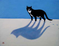 Charlie in the Snow (Heidi Shaulis) Tags: blue winter pet cats snow art animal cat painting oil etsy efa