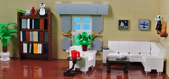 Home (CeciΙie) Tags: lego moc couch sofa bookcase bookshelf book coffeetable curtains livingroom home