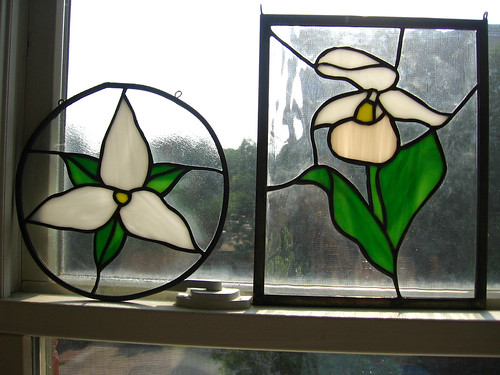 Trillium and Ladyslipper Stained Glass