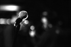 Microphone (Stephen Dowling) Tags: blackandwhite bw music film monochrome 35mm blackwhite m42 bessaflex soundcheck calexico ironandwine helios44582