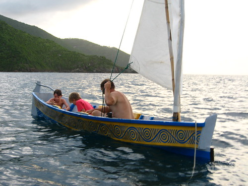 Aragorn and his boys transporting a traditional West Indian canoe near Tortola, The British Virgin Islands