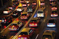 Traffic jam (Pawel Boguslawski) Tags: china road cars canon hongkong lights asia colours lanes 40d cityskip shotsthatrockasia